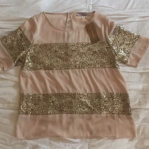 NWT Francesca's sparkle blouse